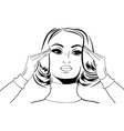 pop art retro woman in comics style with migraine vector image vector image