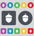 Acorn icon sign A set of 12 colored buttons Flat vector image