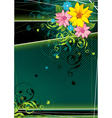 dark green floral background vector image vector image