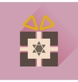 Flat icon with long shadow Hanukkah gift vector image