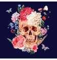 Watercolor card with skull and pink peony vector image