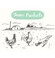 Drawn range chicken farm fresh meat sketch vector image