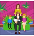 happy cartoon family portrait vector image