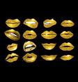 Lips gold set Design glitter element vector image