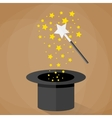 Magic hat and wand with sparkles stars vector image