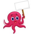 Octopus cartoon holding blank sign vector image