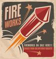 Vintage fireworks poster design vector image