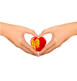 woman hands in the form of heart vector image