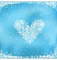snow heart on blue background vector image vector image