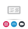 Heat resistant icon Microwave dishwasher info vector image