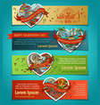 set of horizontal love banners vector image