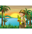A boy with a parrot at the riverbank vector image
