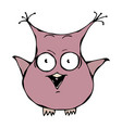 Cute funny scared crazy mad insane owl bird vector image