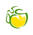 Very stylized cup of steaming tea with lemon vector image