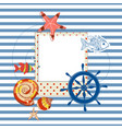 Summer navy background photo frame vector image