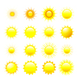 Set of orange and yellow sun vector image