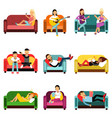 people doing different activities sitting on the vector image
