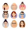 Set of 9 women avatars people characters vector image