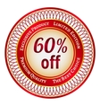 Label on 60 percent discount vector image vector image