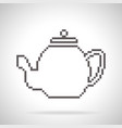 teapot icon pixel art style vector image