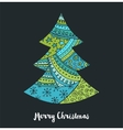 Hand drawn black Christmas tree with doodles vector image vector image