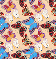 seamless background decorative colored butterflies vector image vector image