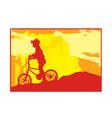 Boy bike silhouette vector image
