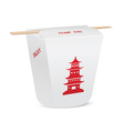 Chinese restaurant closed take out box with chopst vector image
