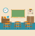 empty classroom interior with blackboard vector image