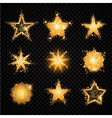 Gold glittering stars sparkling particles on vector image