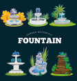 set of outdoors fountain for gardening spring and vector image