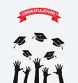 students throw graduation caps vector image