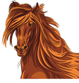 beautiful red horse with long mane vector image vector image