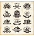 Vintage fruits and vegetables labels set vector image vector image