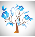 Tree with floral element in Russian gzhel style vector image vector image