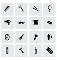black barber icons set vector image
