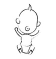 cute little baby in diaper with pacifier vector image