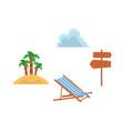 flat travelling beach vacation symbols icon vector image