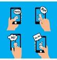 Hand smartphone message vector image