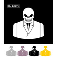 Mr death Skull wearing businessman Skeleton in an vector image