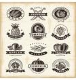 Vintage fruits and vegetables labels set vector image