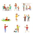People Zombified And Dependent On Gadgets Set Of vector image