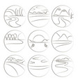 river and landscape icons vector image