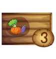 A wooden frame with three vegetables vector image