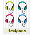 color set of headphones on gray background lines vector image