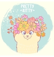kitten with flowers vector image vector image
