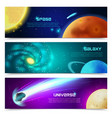 Cosmos galaxy banners set vector image