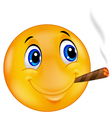 Emoticon smiley smoking cigar vector image
