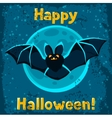 Happy halloween greeting card with flying bat vector image vector image