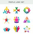 People logo set Group of two three four or five vector image